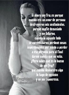 Hipocresía, miedo, Perdón, Sentimientos, Mi manera de ser, Confianza, Corazón,