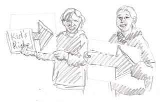 "pencil sketch: two girls holding signs that read: ""Kid's Ride"" With Arrows."