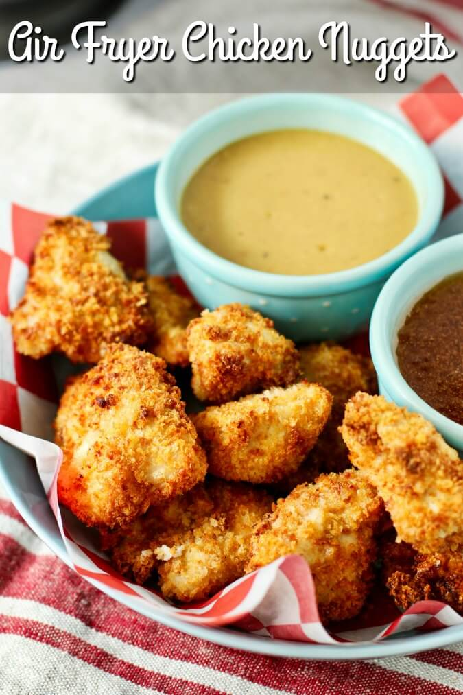 Air Fryer Chicken nuggets with delicious dipping sauces