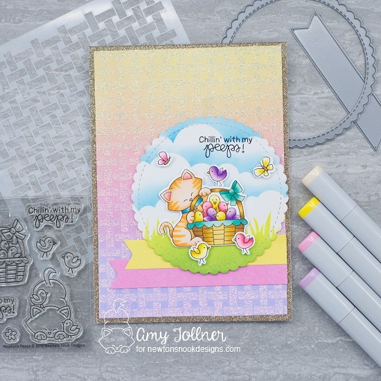 Chillin' with my peeps by Amy features Basketweave, Newton's Peeps, Clouds, Hills & Grass, Newton's Birdbath, and Frames & Flags by Newton's Nook Designs; #newtonsnook, #inkypaws, #catcards, #cardmaking, #eastercards, #springcards