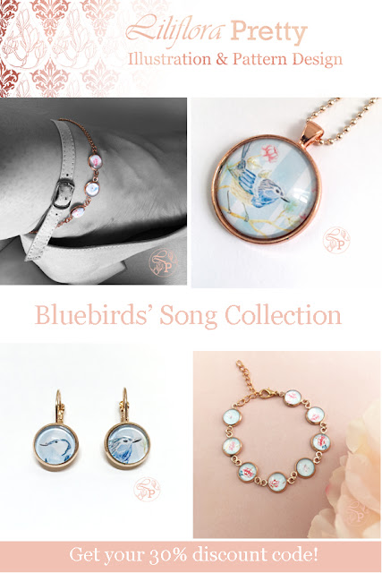 Bluebird rose gold pendant earrings anklet bracelet jewelry collection superb fairy wren vintage pink floral shabby chic roses