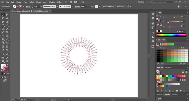 Flower with Blend Tool in Adobe Illustrator