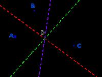 Circunferencia que pasa por tres puntos alineados