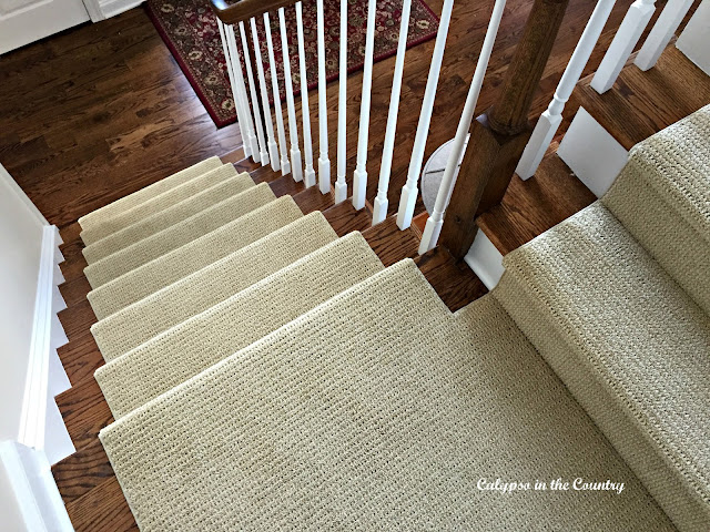 Sisal Substitute for stairs - It would have been nice to leave the wood stairs uncovered but with a dog and kids, we needed a stair runner.