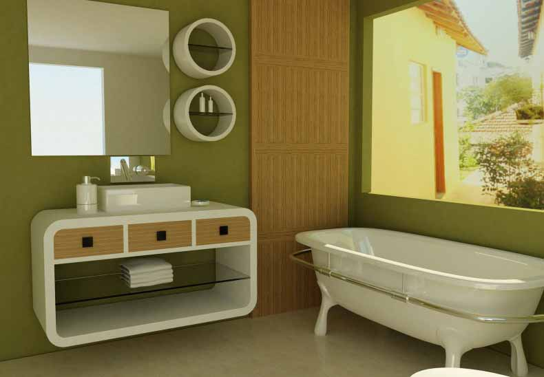 Desain Interior Kamar Mandi Hijau Minimalis Modern ...