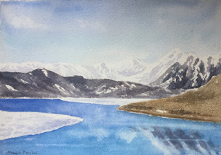 Water colour painting of Gurudongmar Lake on Arches cold pressed paper, By Manju Panchal