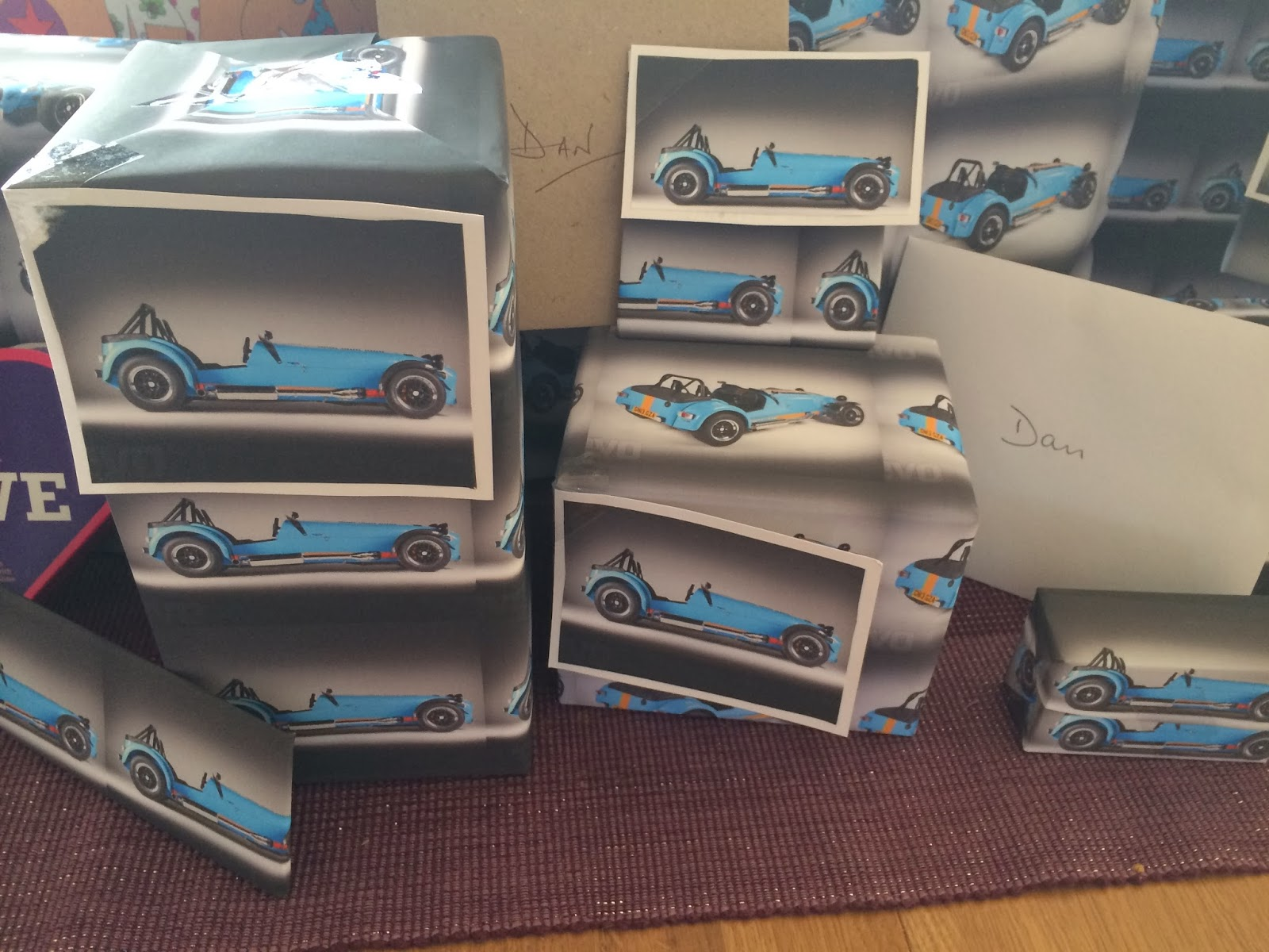 A close up of the Caterham wrapping paper