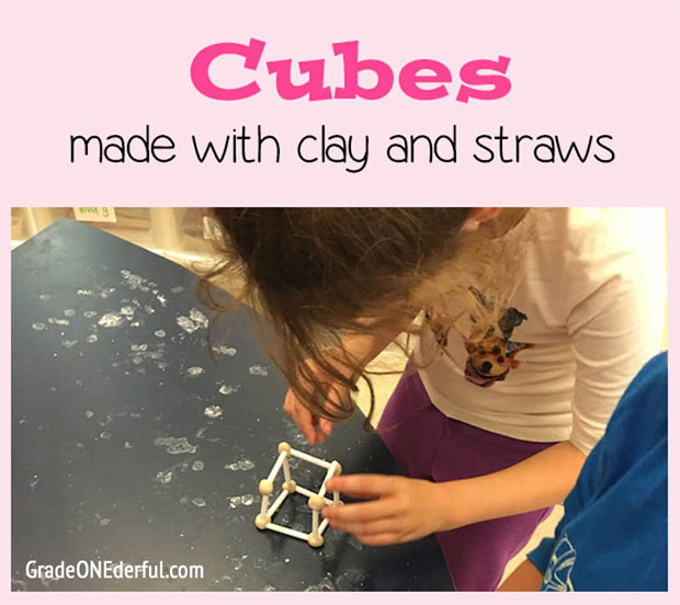 Making cubes with fast drying clay and drinking straws. GradeONEderful.com