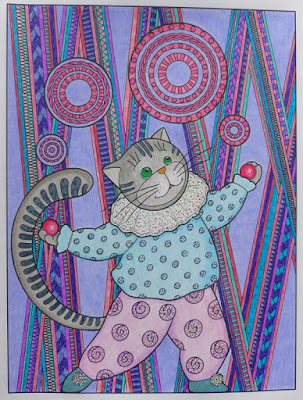 Coloring for adults completed page circus cat