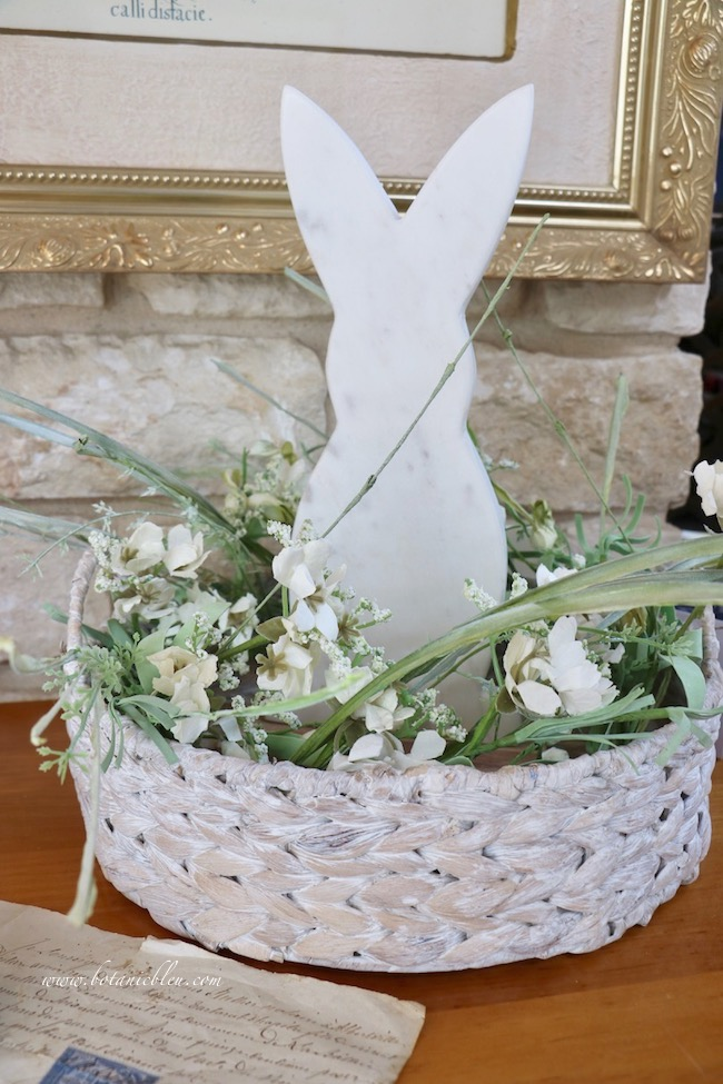 Usher in spring with white bunny arrangement DIY details