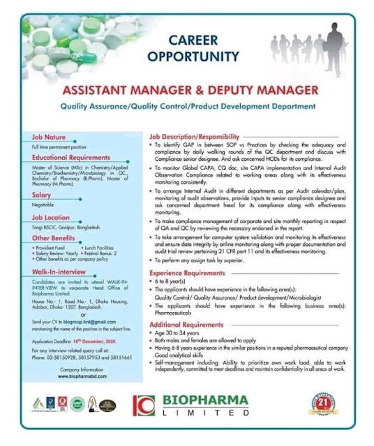 BIOPHARMA LIMITED WalkIn Interviews for Quality Assurance Quality Control Product Development Department Apply Now