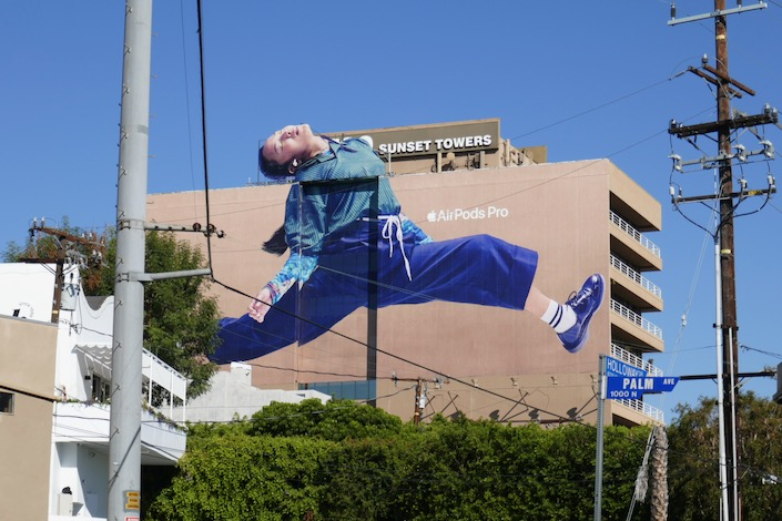 Giant AirPods Pro dancer billboard