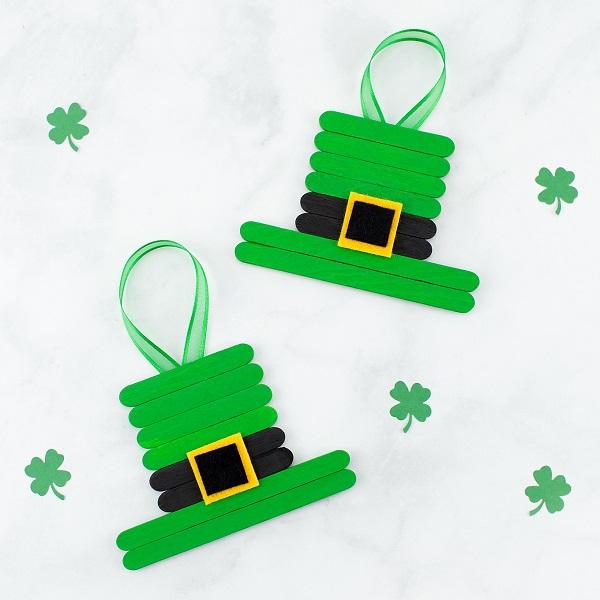 easy popsicle stick leprechaun hats