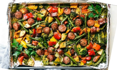 Healthy Sausage and Veggies Recipe, Health Nutrition, Food Health Nutrition