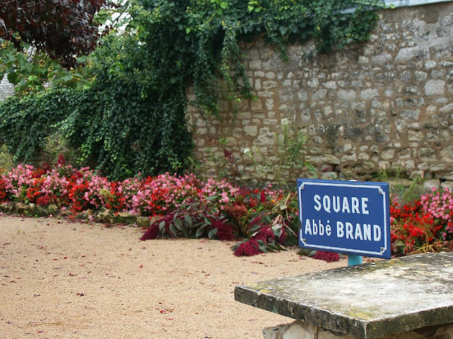 Square named after Resistance hero Father Brand, in La Roche Posay, Vienne, France. Photo by Loire Valley Time Travel.