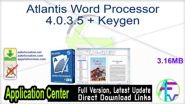 Atlantis Word Processor 4.0.3.5 + Keygen