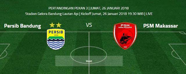 Jadwal Pertandingan Persib Bandung vs PSM Makassar - Grup A Piala Presiden Jumat 26/1/2018.
