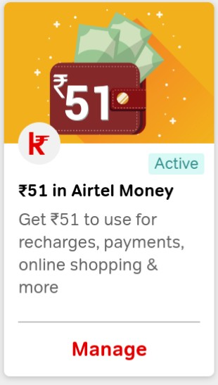 AIRTEL THANKS OFFER- GET RS.51 FREE
