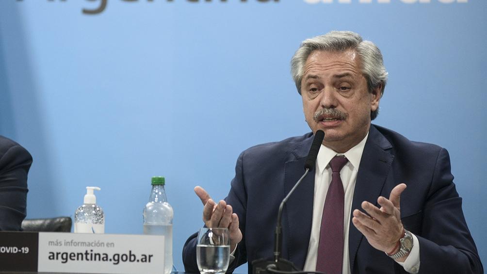 Alberto Fernandez anunciando intervencion de Vicentin