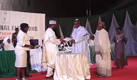 Photos: Buhari, Osinbajo Get Certificate Of Return