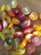 Image of multi-colored heirloom tomatoes sliced.
