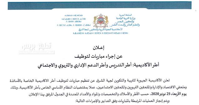 إعلان اكاديمية جهة الشرق (1235 منصب) لمباراة توظيف أطر الأكاديمية فوج 2021 : اساتذة وملحقين