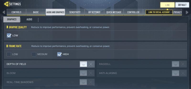 vivo y11 COD: Mobile Graphics settings