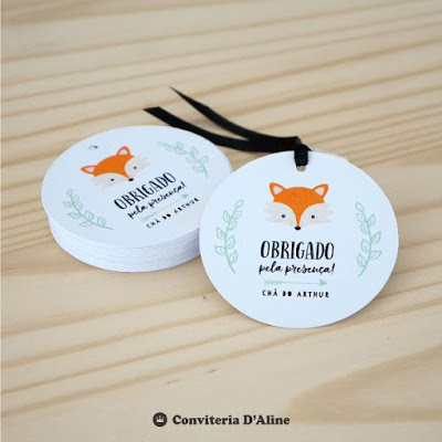 tag lembrança raposa personalizado