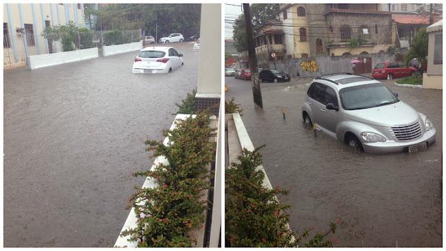 Rio Vermelho em dia de caos. Varias ruas alagadas com as fortes chuvas