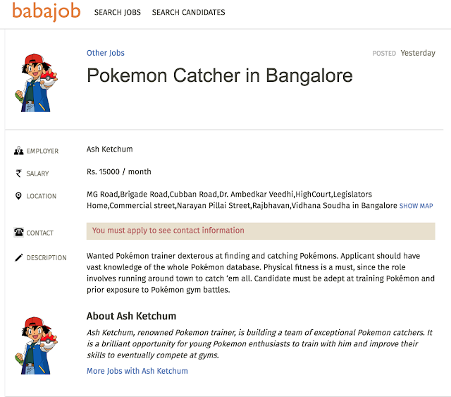 Want to become a Pokémon Catcher? Join Babajob.com today!