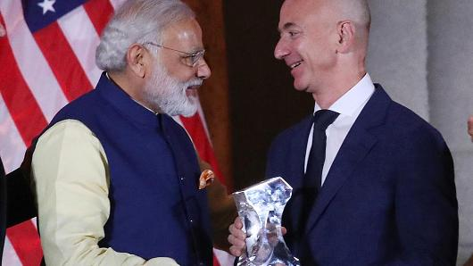 Narendra Modi with Jeff Bezos