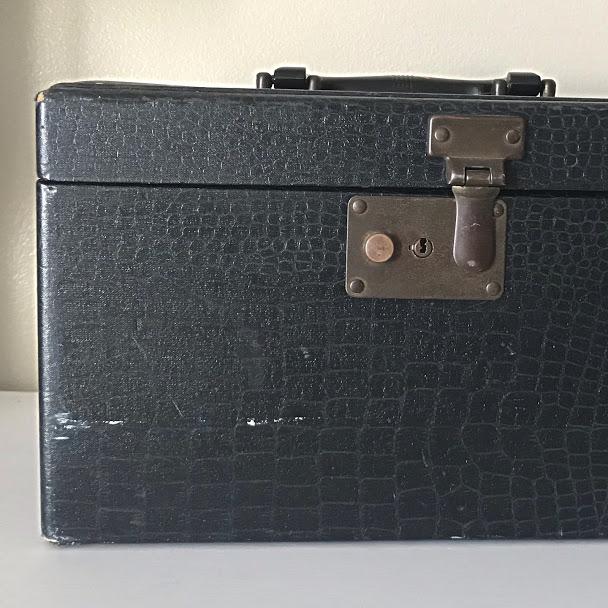 closeup of vintage sewing box