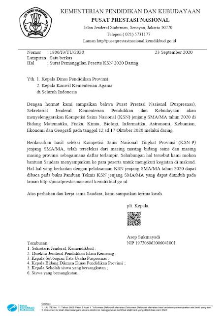 Surat Pemanggilan Peserta KSN SMA Tingkat Nasional Tahun 2020 tomatalikuang.com