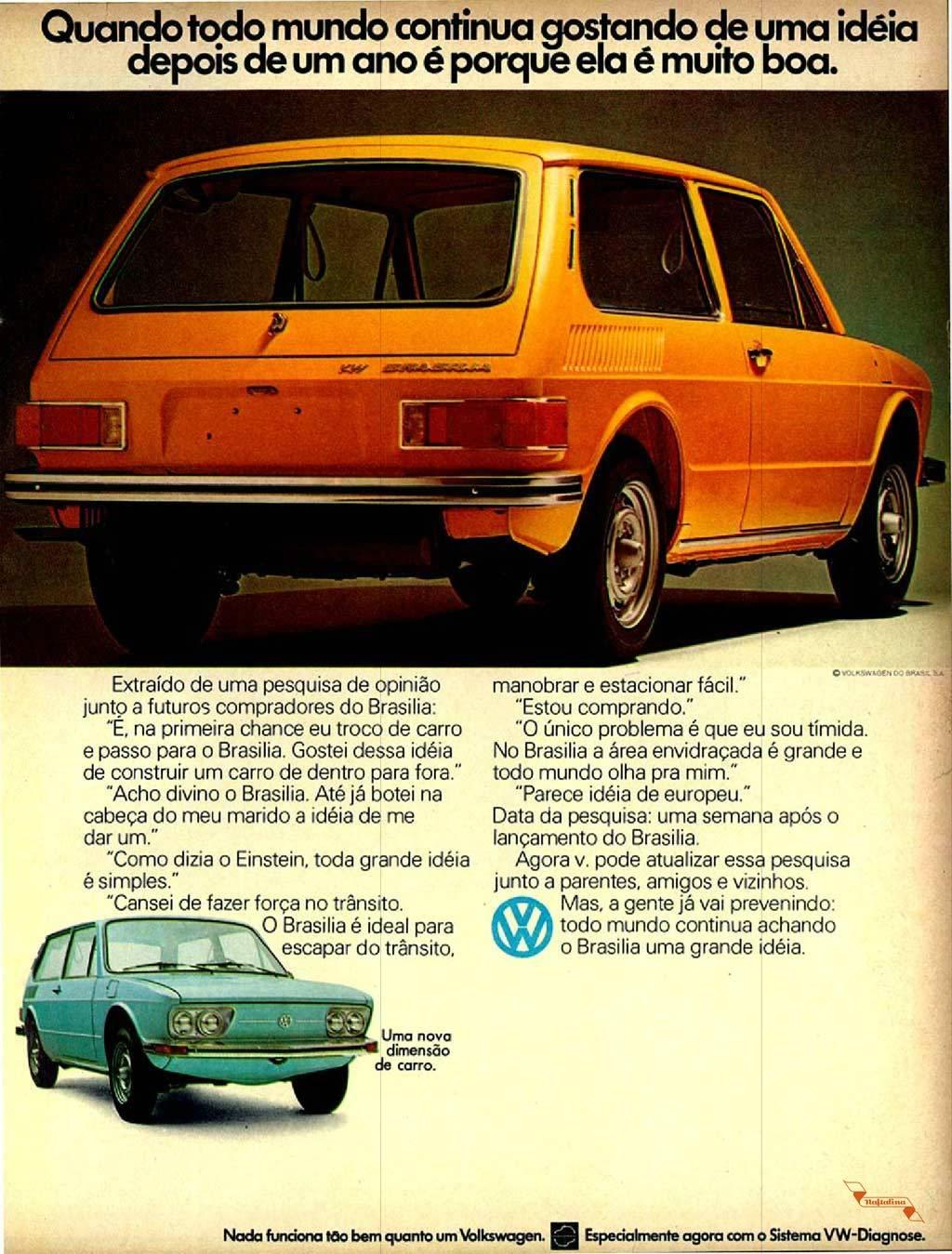 Propaganda antiga da Volkswagen apresentando as vantagens de ter uma Brasília, em 1974