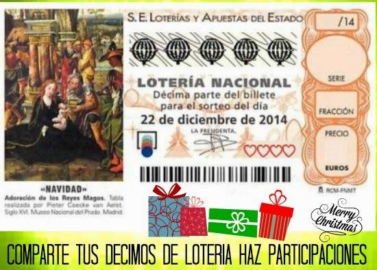 décimos, navidad, participaciones, lotería, boletos, sorteo