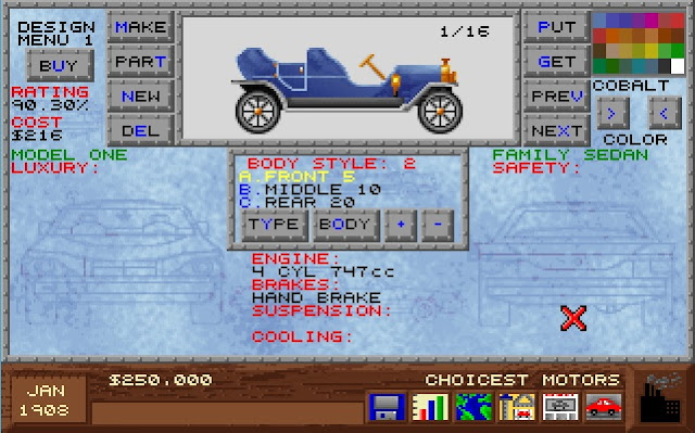 Screenshot from Design a Car Model screen in PC game Detroit