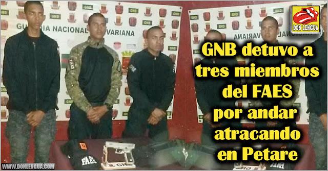 GNB detuvo a tres miembros del FAES por andar atracando en Petare