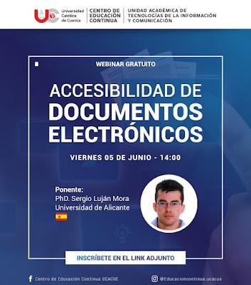 """Afiche del webinar gratuito """"Accesibilidad de documentos electrónicos"""", viernes 5 de junio - 14:00 (Ecuador)"""