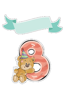 Free Printable Cake Toppers with Bears and Numbers.