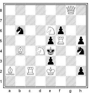 Problema de mate en 2 compuesto por Vasil Dyachuck (1º Premio, Liberte-Dimanche 1996)