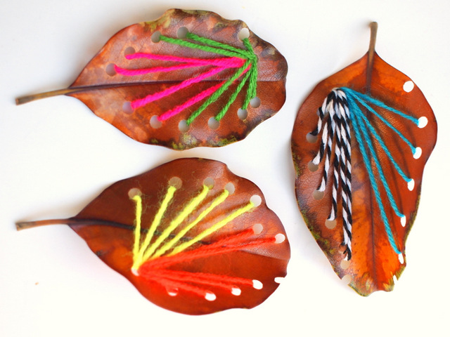 how to practice sewing with leaves- make beautiful yarn art designs!