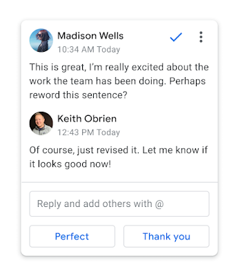 Smart reply suggests replies to comments in Google Docs
