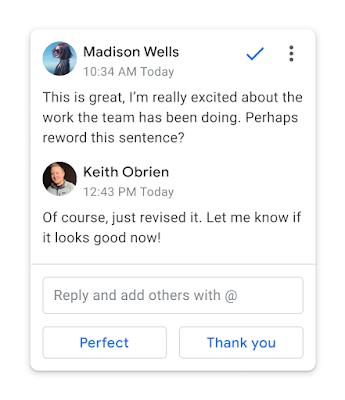 Respuestainteligente sugiere respuestas a comentarios en DocumentosdeGoogle