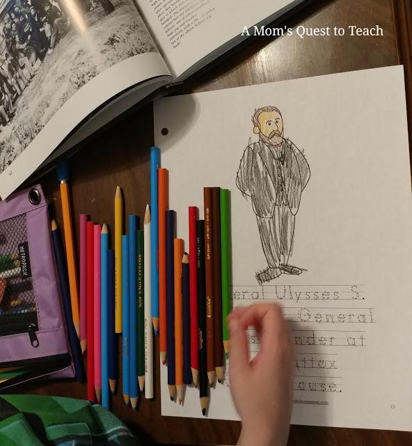 coloring pencils, coloring page of Grant, Civil War photos book