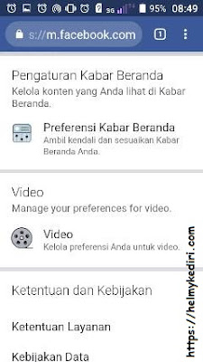 Menonaktifkan autoplay video facebook dibrowser android