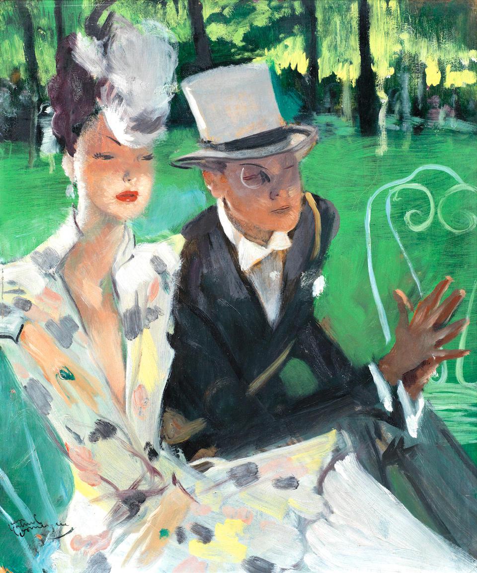 Jean Gabriel Domergue Couple d elegants au parc