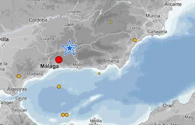 Lugar del epicentro del terremoto  en el norte de Alcaucín, Málaga