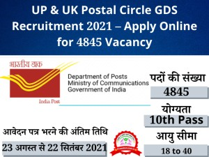 UP & UK Circle GDS Post Office Recruitment 2021-Know the Required Qualification and Age Limit