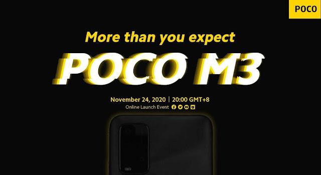 الاعلان عن هاتف POCO M3 فى 24 نوفمبر الحالي
