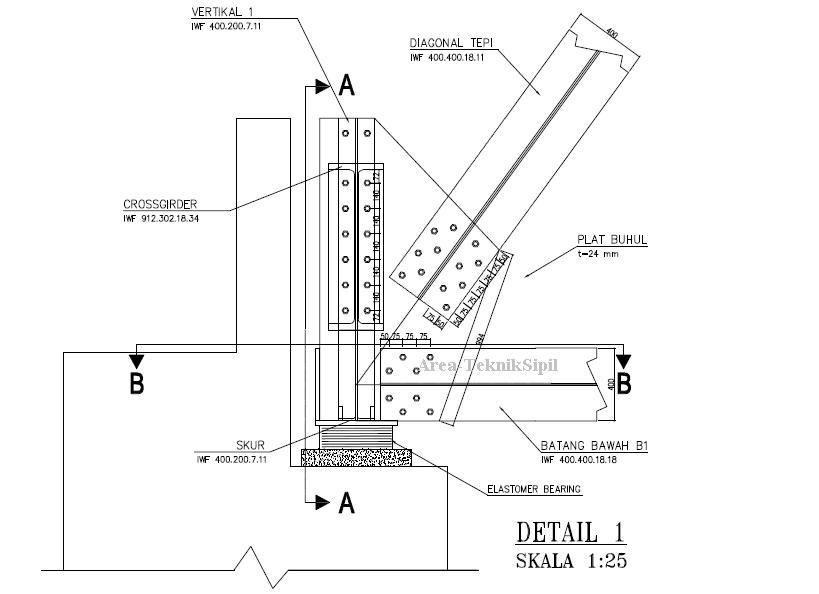 Gambar Detail Sambungan Baut Jembatan AutoCAD  Area